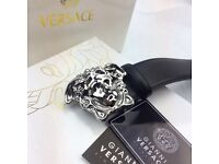 Chrome buckle fashion statement elegant smart mens leather belt versace boxed completed perfect gift
