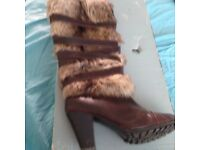 Mid length fur boots