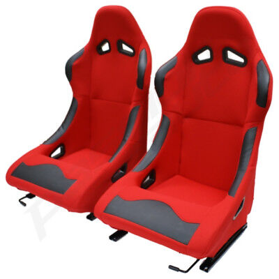 Pair of 2 Red Bucket Seats Fixed Back for Track/Racing Car Buggy Off Roader ATV