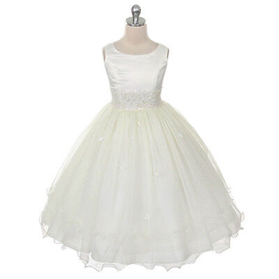 IVORY Flower Girl Dress Bridesmaid Tulle Beaded Wedding Birthday Party Recital
