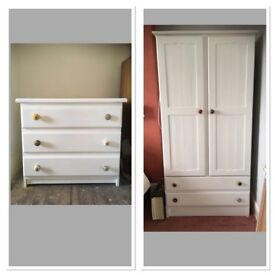 SOLID PINE WARDROBE AND CHEST OF DRAWERS