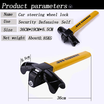 Universal Auto Car Anti-Theft Security Rotary Steering Wheel Lock Devices