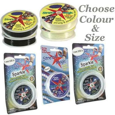 Stretch Magic Elastic Cord, Clear,Glitter, Gold, Silver, Sparkle, Black, Pearl,