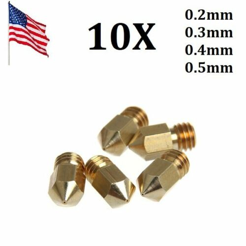 US 10Pcs/set 3D Printer Extruder J-Head Brass Nozzle Print H