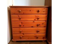 Matching pine bedroom furniture