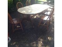 Large pine table chairs