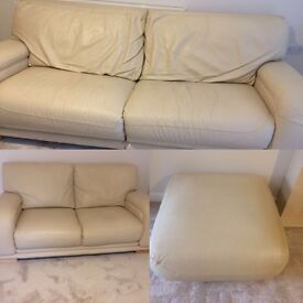Cream leather, 4 seater, 3 seater and foot stool! £250 ono