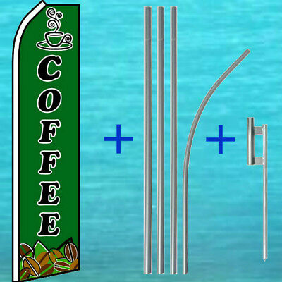 Coffee Flutter Flag Pole Mount Kit Tall Curved Feather Banner Advertising Sign
