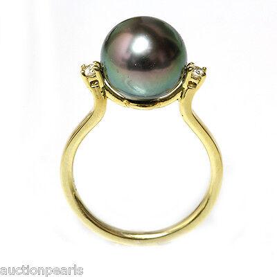Diamond Tahitian Pearl Ring 10mm 18KT Gold  Peacock Diamonds 10mm Tahitian Pearl Ring