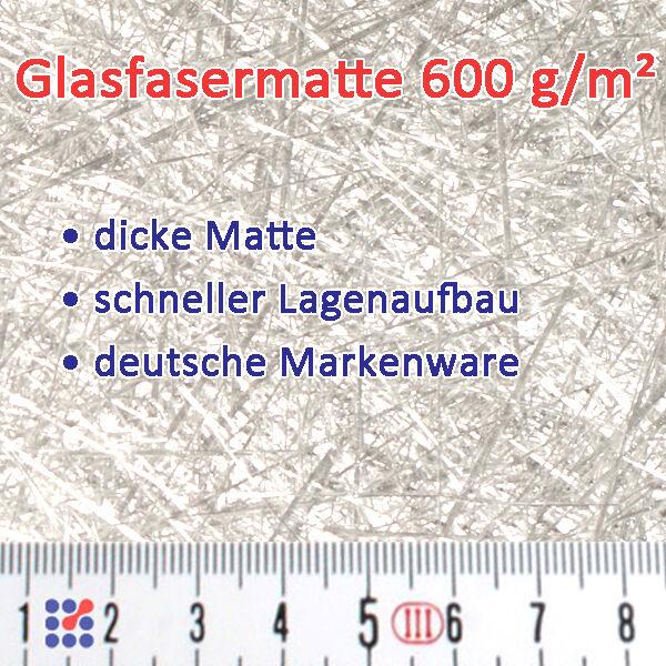 GLASMATTE, GLASVLIES, GLASFASERMATTE F. POLYESTERHARZ  EPOXIDHARZ POLYESTERVLIES Glasmatte 600 g/m²