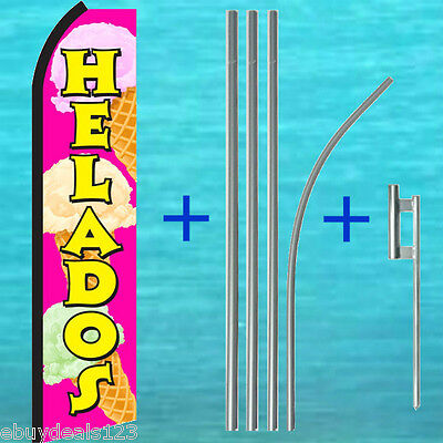 Helados Ice Cream Swooper Flag Pole Mount Tall Sign Flutter Feather Banner