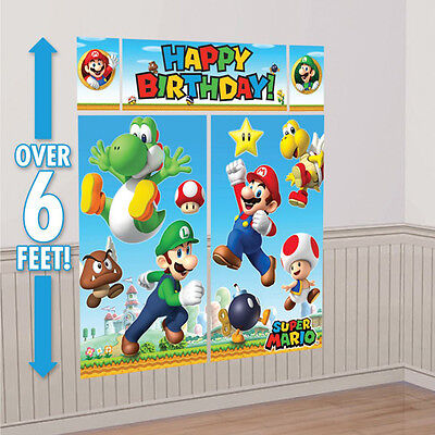 Super Mario Brothers Wall Decoration Kit, Scene Setter Birthday Party Supplies  (Super Mario Brothers Decorations)