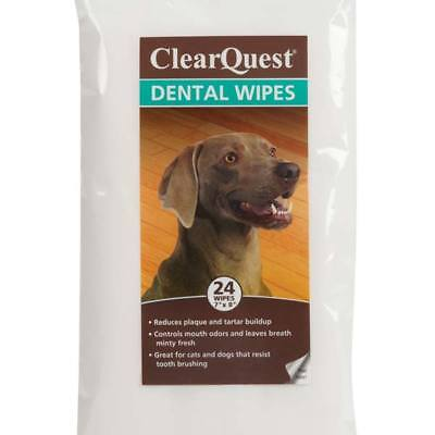 Pet Dental Wipes Safely Remove Dog & Cat Oral Hygiene 24 Count Packs