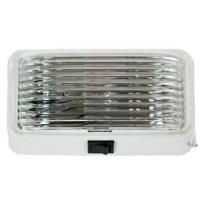 Rectangular Clear Lens White Case Incandescent Porch/Utility Light w Switch