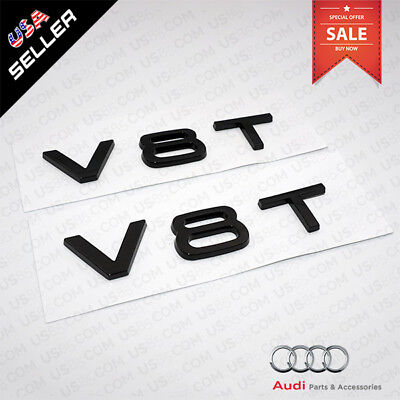 Audi OEM Gloss Black V8T Side Fender Marker Logo Emblem Badge Sticker Decoration