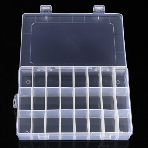 15 24 Grid Clear Adjustable Jewelry Organizer Box Holder
