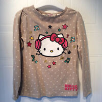 H&M brown w white dots Hello Kitty long sleeved shirt, 2-4 years