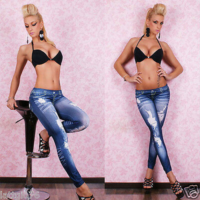 Leggings effetto jeans BLU donna aderenti pantaloni leggins pantacollant DS7858