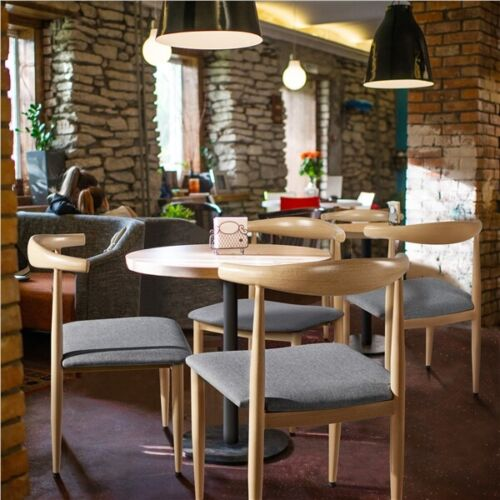 2pcs Dining Chairs with Backrest Modern Kitchen Chairs Metal Legs, Wood Color 1
