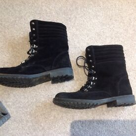 Kurt Geiger barely worn black suede lace up ankle boots