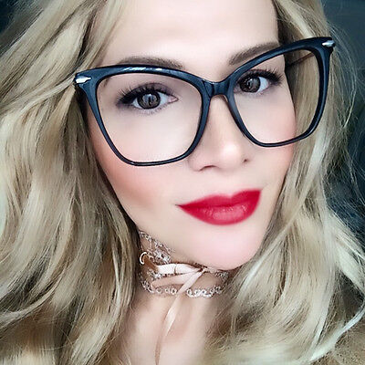 Oversized Large Fearless Cat Eye Clear Big SEXY Geek SMART Hot Eyeglasses (Geek Chic Glasses Frames)