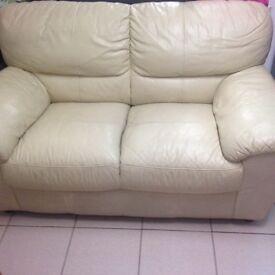 2 seater cream sofa leather
