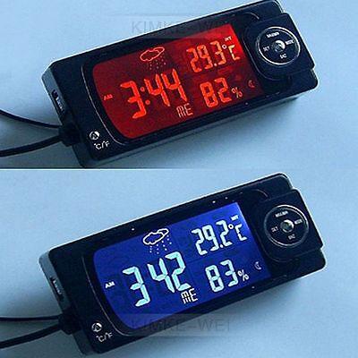 Digital LCD Auto Uhr Thermometer &Hygrometer Innen/Außen