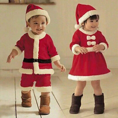 Kids Boy Girl  Xmas Santa Claus Christmas Holidy Suit Costume Fancy Dress Party - Boy Santa Costume