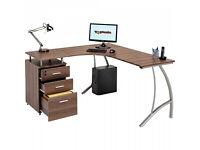 Large Corner Computer Desk A4 Filing Drawer for Home Office Piranha Regal PC 28
