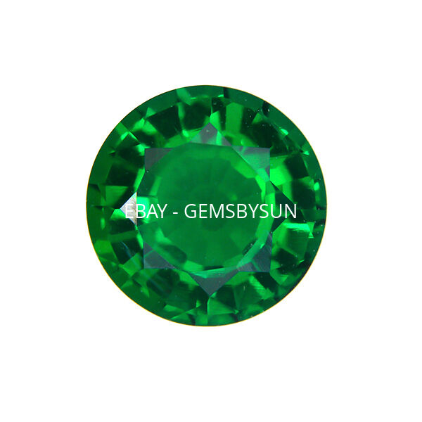 Lab Created Hydrothermal Emerald Green Round Faceted Loose Stones (1.5mm - 15mm)