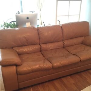 Real leather - couch good condition $100 pick up only
