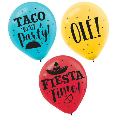 Fiesta Latex Balloons Spanish Mexican Party Supplies Decoration ~15 ct - Fiesta Balloons