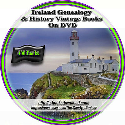 """Ireland History Genealogy 400 Vintage """"Out of Print"""" Rare Books 3 DVDs"""