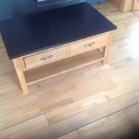 Large oak coffee table with drawer