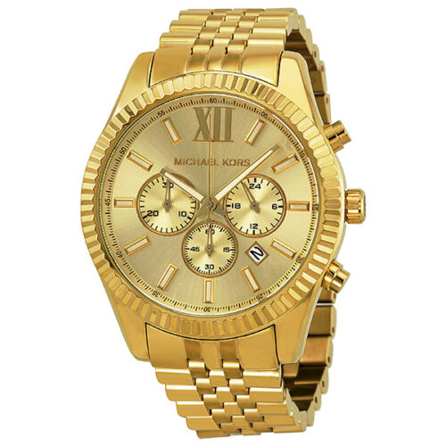Michael Kors Lexington Chronograph Champagne Dial Mens Watch MK8281