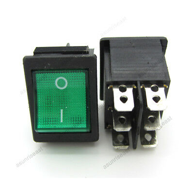 2 Green Rocker Switch Rectangle On-on Dpdt 20a 250v With Power Indicator Light