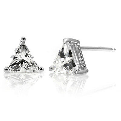 2ct Trillion Cut Created Diamond Stud Earrings 14K Solid White Gold