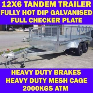 12x6 galvanised trailer tandem trailer w cage heavy duty brakes 3