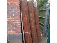Rolls of willow garden screening