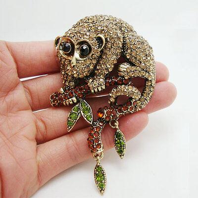 Unique Animal Monkey Brown Rhinestone Crystal Gold-tone Brooch (Brown Crystal Brooch)