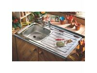 Stainless Steel Sit On Kitchen Sink 1.0 Bowl Right Hand Drainer NO1050SR