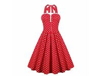 Retro Style Ruffled Polka Dot Halter Dress 4XL roughly 18-20+