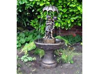 Boy And Girl Under Umbrella Water Feature Fountain (FREE LOCAL DELIVERY)