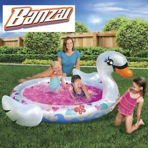 NEW BANSAI SWAN SPLASH POOL 13629 187109334 Inflatable Summer Backyard Aqua Fun OUTDOOR