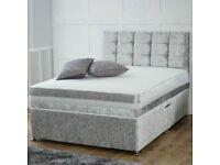 ☃️Furniture Sale online☃️Double & King Size Crushed Velvet Divan Bed Base W Optional Mattress