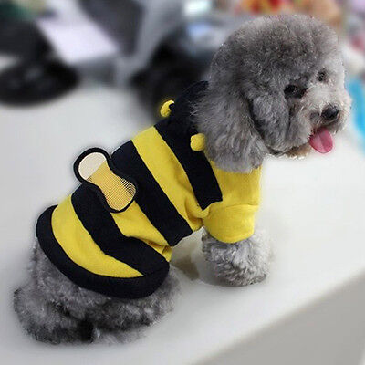 Pet Bee Halloween Costume Dog Cat Puppy Sweater Shirt Warm Fashion Clothes