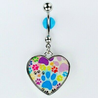PAW PRINT HEART Dangle Belly Button Ring I Love My Cat Dog Navel Jewelry (C3)