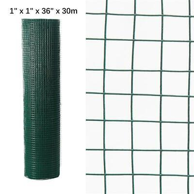 "Hole 1"" x 1""PVC Coated Chicken Wire Mesh 30M Fencing Garden Barrier 36"" Width"