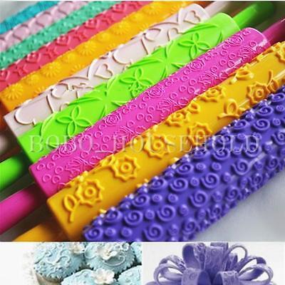 XMAS Rolling Pin Fondant Cake Sugarcraft Embossed Decorating Mold Gum Paste Tool