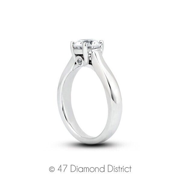 0.37ct Tw I Vs2 Round Cut Natural Certified Diamonds 14k Gold Side-stone Ring